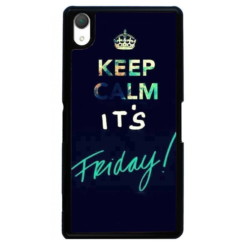 Keep Calm It'S Friday Painting Phone Case for SONY Xperia Z2 (Black)