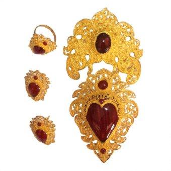 Kerajinan Perak - Set Perhiasan Bros Tapel Bali ( 1 Cincin + 1 Pasang ...