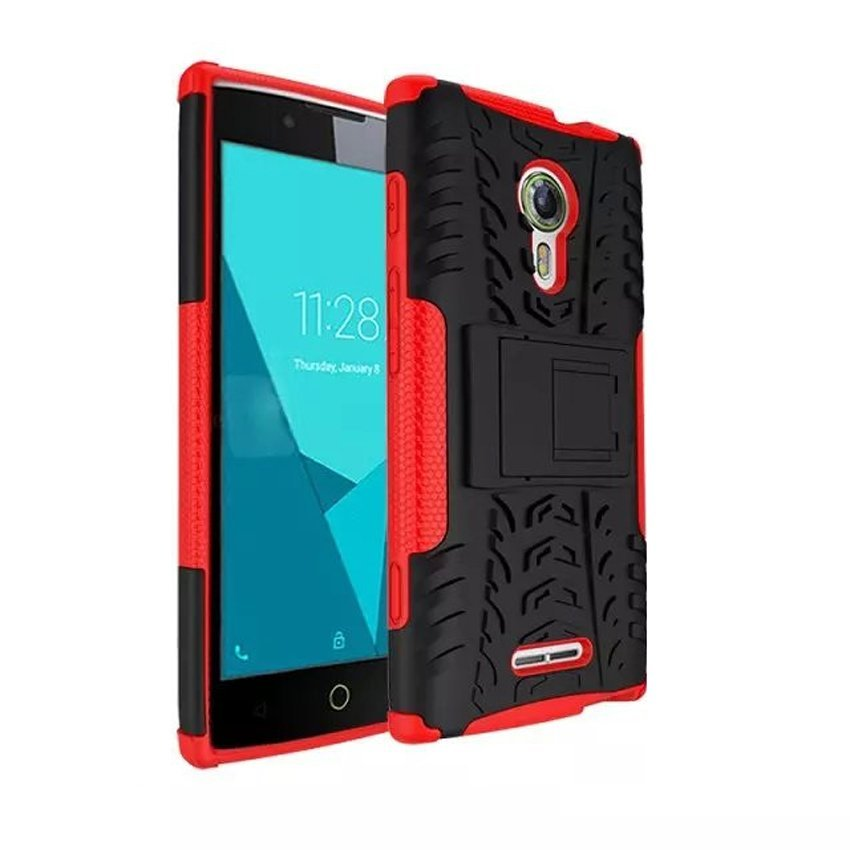 KinKin Case for Alcatel Flash 2 Rugged Armor With Kickstand - Hitam-Merah