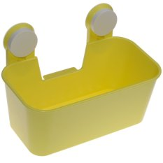 Kitchen Bathroom Draining Storage Box With Strong Double Sucker Yellow- Intl