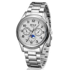 Korean Fashion Men Women Couple Luxury Stainless Steel Round Dial Sport Watch Waterproof Casual Analog Three Six-pin Quartz Watch Digital Watch (White) - INTL