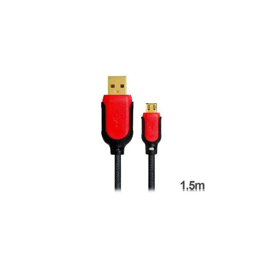 KS-U305 1.5 m Micro USB Color Contrast Charging Data Cable for Samsung V8 Red