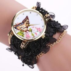 Lace Wrap Around Bracelet Crystal Synthetic Chain Analog Quartz Wrist Watch Black Free Shipping