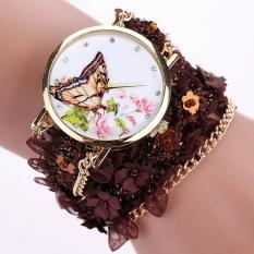 Lace Wrap Around Bracelet Crystal Synthetic Chain Analog Quartz Wrist Watch Coffee Free Shipping