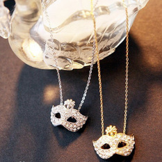Lady Fox Masquerade Mask Pendant Necklace Full Rhinestone Crystal Sweater Chain Silvery (Intl)