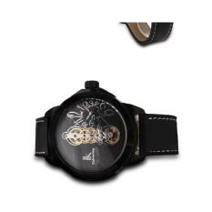 Lanyasy IK Apa Qi Large Dial Men Watch Fashion Personality Male Table Belt Dual Movement Watch 98308G (Black)