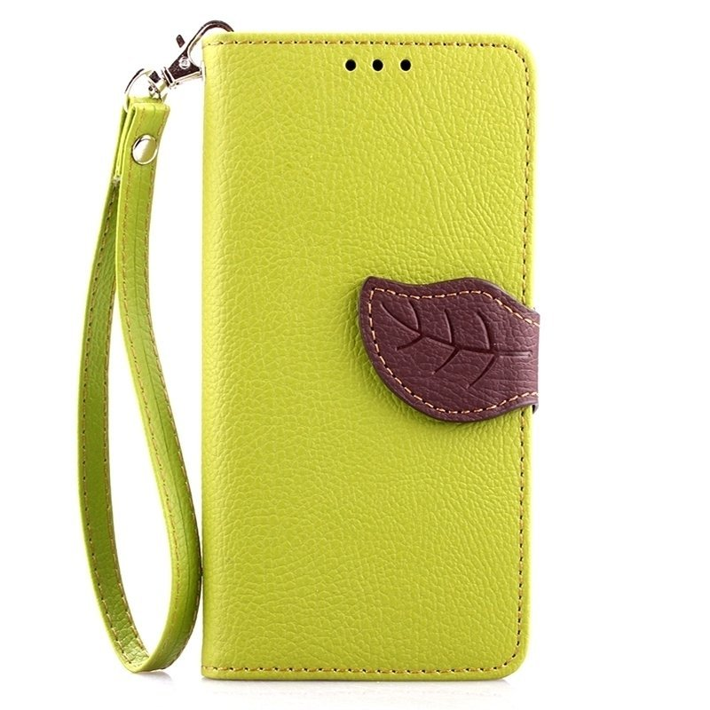 Leaf Clasp PU Leather Case with Stand Function 2 Card Holder Wallet Case Cover for iPhone 6/6S 6s Green (Intl)