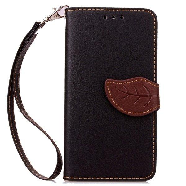 Leaf Pattern Leather Flip Cover for Samsung Galaxy J7 (Black) (Intl)