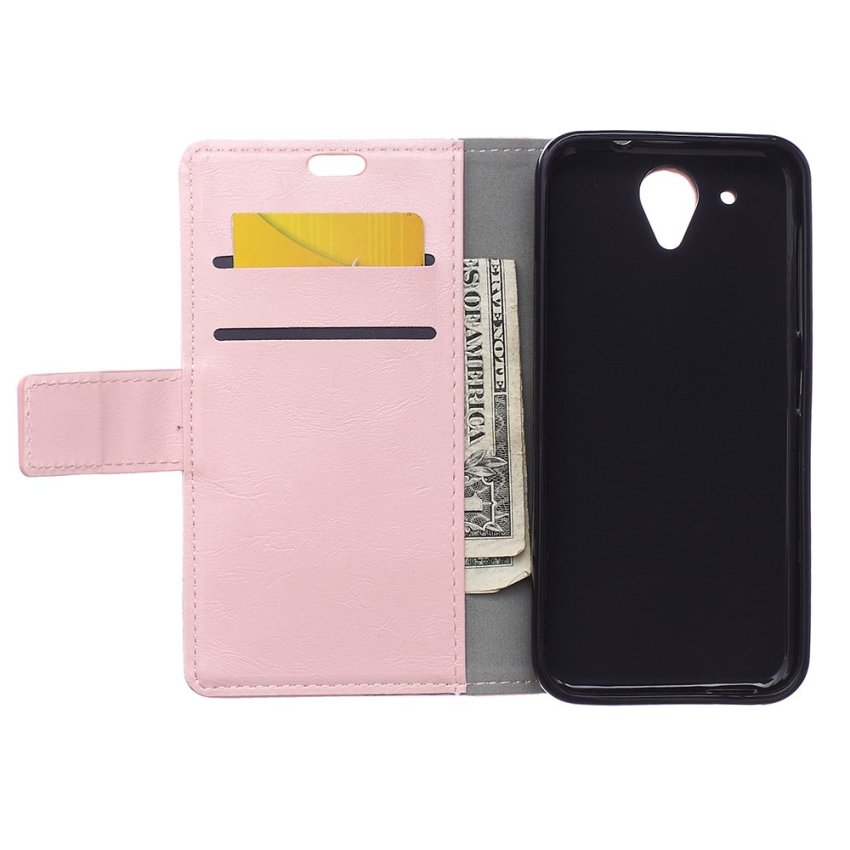 Leather Flip Case with Card Slot for HTC Desire 520 (Pink) (Intl)