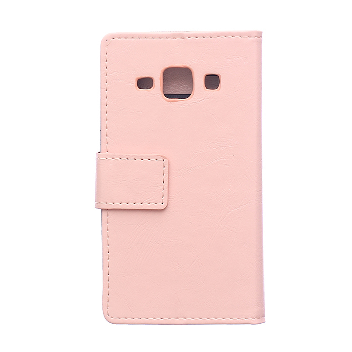 Leather Flip Case with Card Slot for Samsung Galaxy J1 (Pink) (Intl)