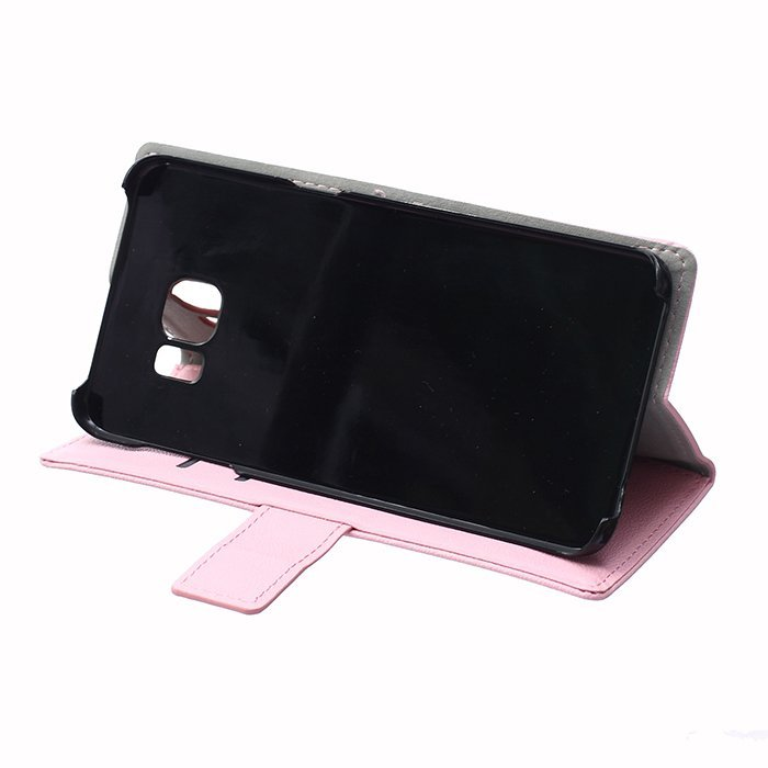 Leather Flip Case With Card Slot for Samsung Galaxy S6 Edge Plus (Pink) (Intl)