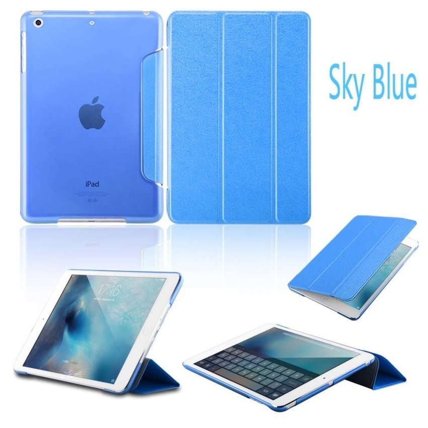 Leather Flip ShockProof DustProof Tablet Protective Slim Transparent Back Case for Apple iPad Air 2/iPad 6 SkyBlue(INTL)