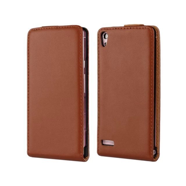 Leather Up-Down Flip Open Holster Cover for Huawei P6 (Brown)