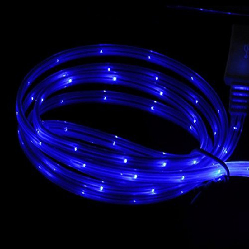 LED Light Up Charging Cable Luminescent Sync Cable for iPhone 6/6 Plus/5/5S Blue (Intl)