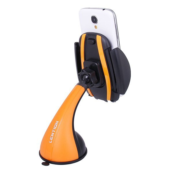 LENTION C300 Car Mount Universal Windshield Suction Phone Holder Stand For iPhone Samsung (Orange) (Intl)