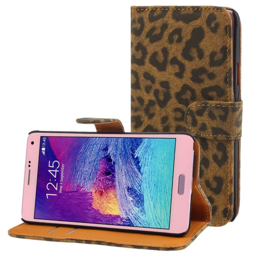 Leopard Leather Flip Wallet Case Cover For Samsung Galaxy Note 4 Brown
