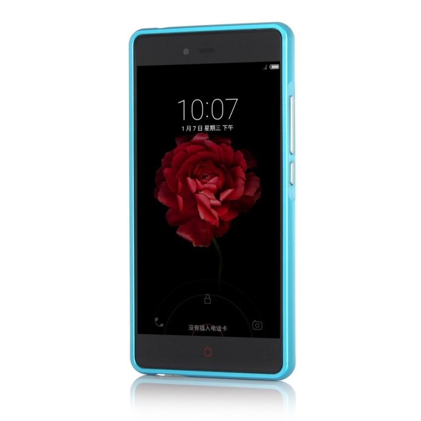 Light Blue Hybrid Combo Body Armor Metal Bumper Frame Case with Hard PC Back Cover ZTE Nubia Z9 Max Case (Intl)