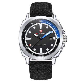 LONGBO Men Sports Large Dial Quartz Auto Date Waterproof Leather Wrist Watch (White + Black)