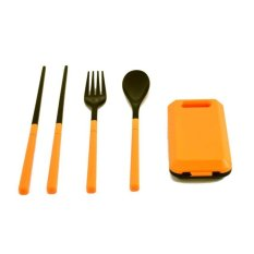 Look Set Makan Lipat Foldable Compact Travel Utensil Set With Spoon-Fork-Chopstick - Oranye