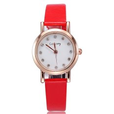 Louiwill 2015 Hot New Arrival Dress Watch Brand Women Men Casual Watch Quartz Rose Gold Plated Pu Leather Strap Wristwatch For Lovers (Red Gold White Women) (Intl)