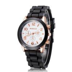 Louiwill Casual Watch Geneva Unisex Quartz Watch Men Women Analog Wristwatches Fashion Sports Watches Rose Gold Silicone Watches Dropship (Black) (Intl)