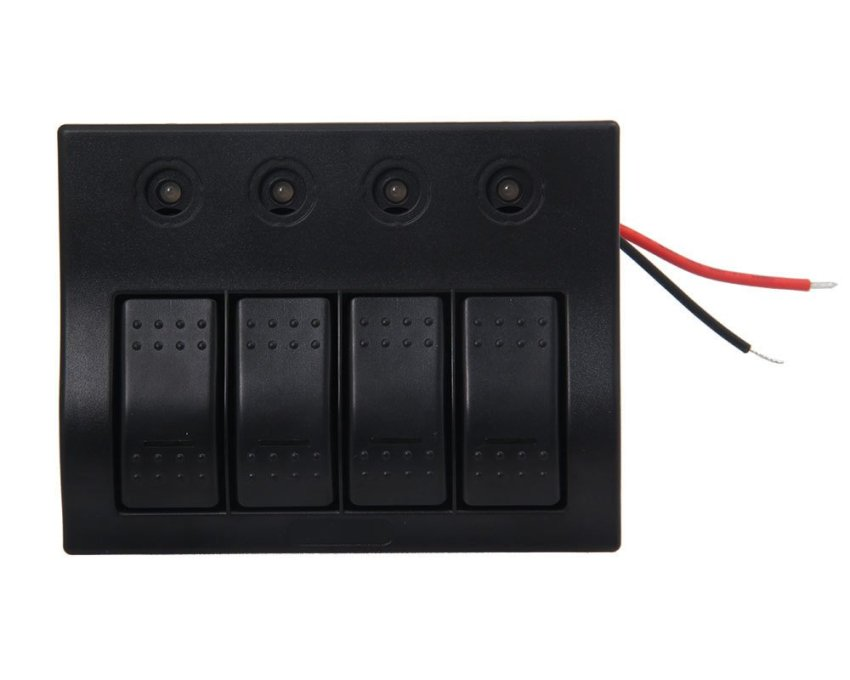louiwill Marine Boat Caravan 4 Gang LED Rocker Circuit Breaker Switch Panel (Black) (Intl)