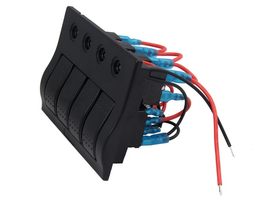 louiwill Marine Boat Caravan 4 Gang LED Rocker Circuit Breaker Switch Panel (Black) (Intl)