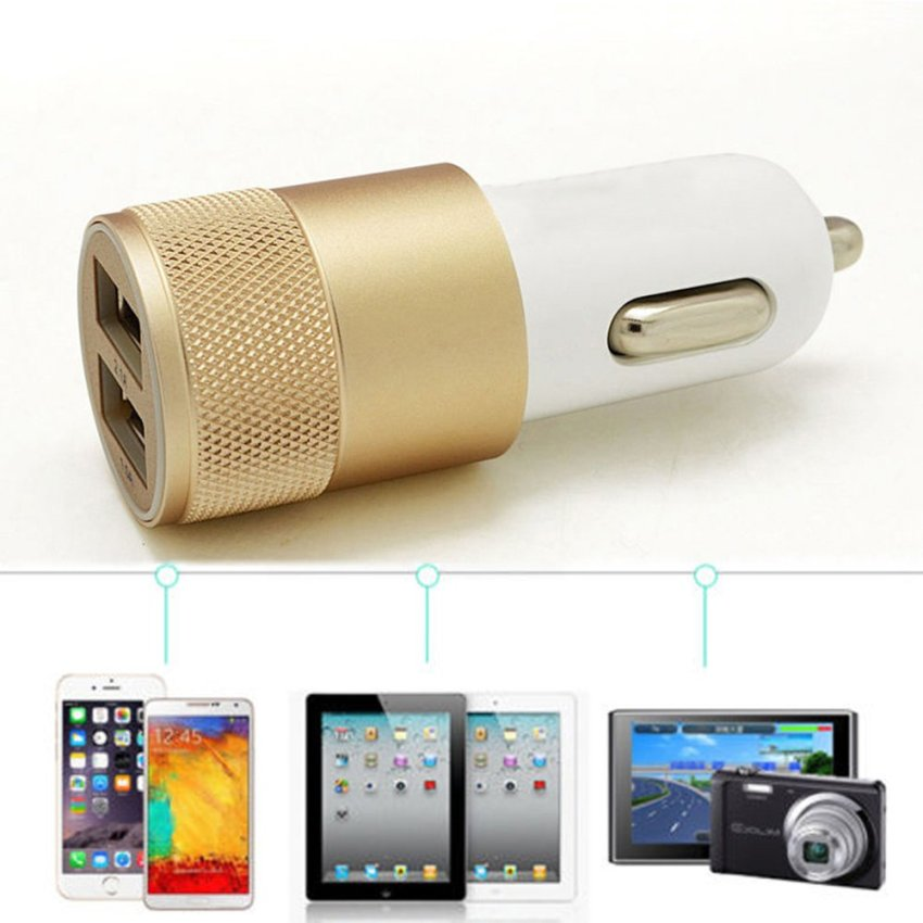 louiwill Preminum 2.1A Rapid Dual USB Port Car Charger Adapter (White & Gold) (Intl)