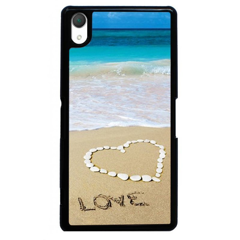 Love Beach Painting Phone Case for SONY Xperia Z4 (Black)