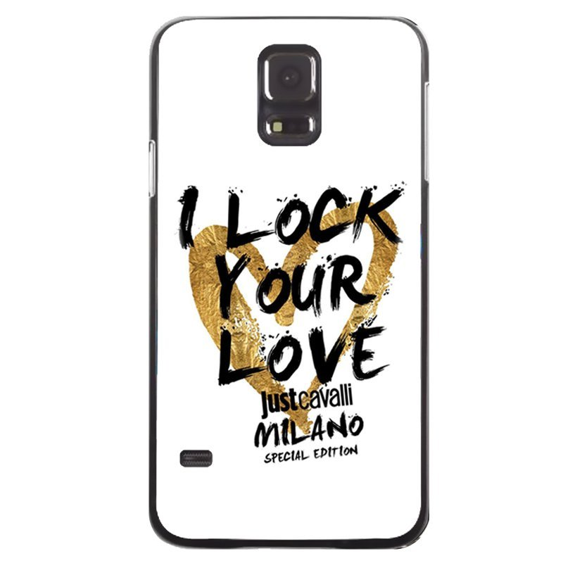 Love Heart Printed Phone Case for Samsung Galaxy S5 (Black)