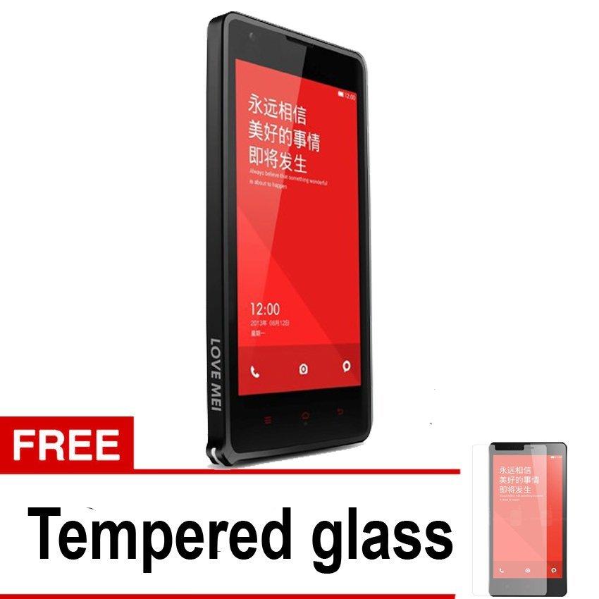 Love Mei Slim Metal Bumper untuk Xiaomi Redmi Note -  Hitam + Gratis Tempered Glass
