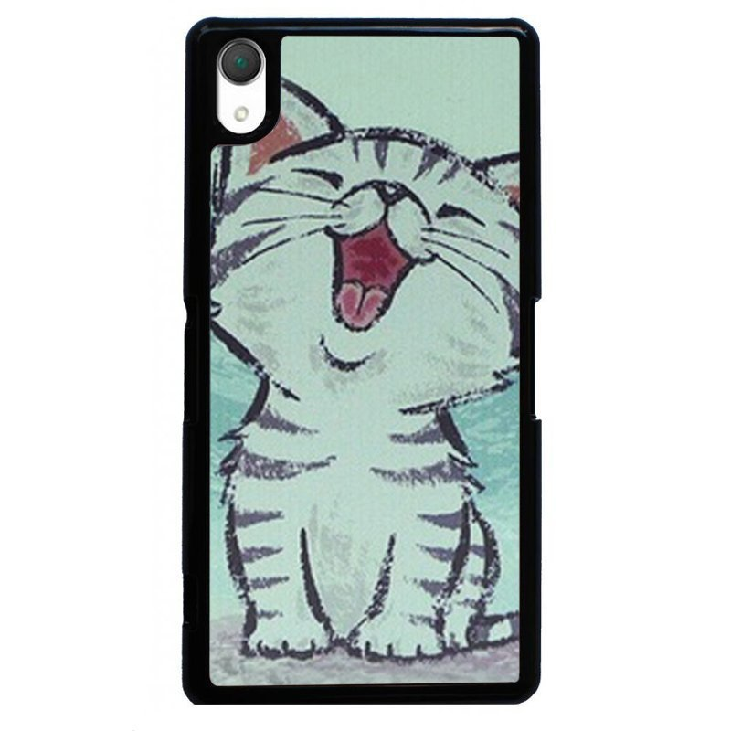 Lovely Happy Cat Painting Phone Case for SONY Xperia Z3 (Black)