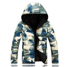 Lovers Winter Jackets Men 2015 Military Camouflage Outdoor Thick Parka Slim Stand Collar Overcoats Light Outwear M-3XLZHY1801 (Intl)