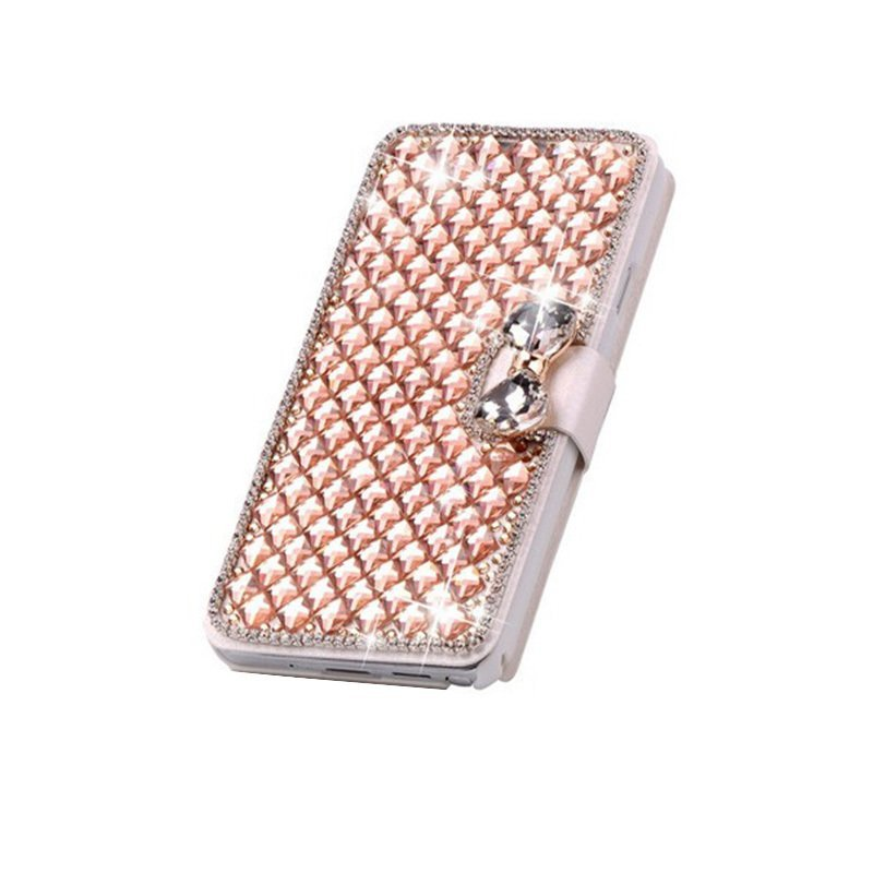 Luxury Bling Crystal & Diamond Leather Flip Bag For iPhone 6S 4.7 (Gold) (Intl)