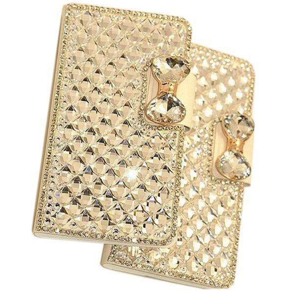 Luxury Bling Crystal & Diamond Leather Flip Bag For iPhone 6S 4.7 (White) (Intl)