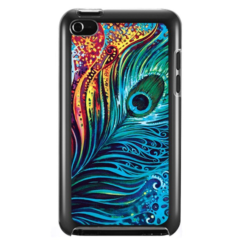 Luxury Blue Feather Pattern Phone Cover for iPod Touch 4 (Black)