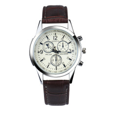 Luxury Fashion Faux Leather Mens Analog Watch Watches Coffee Free Shipping