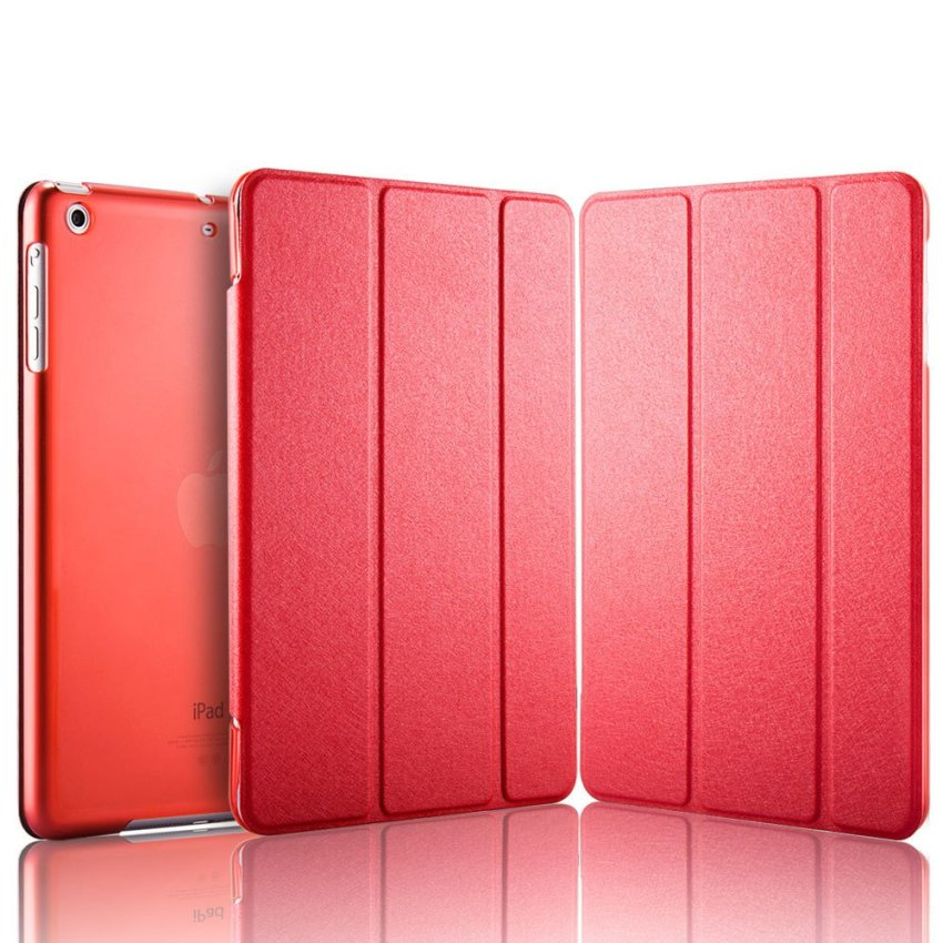 Luxury Magnetic Slim Smart Wake Leather Transparent Back Case Cover for Apple iPad mini 4 Red(INTL)