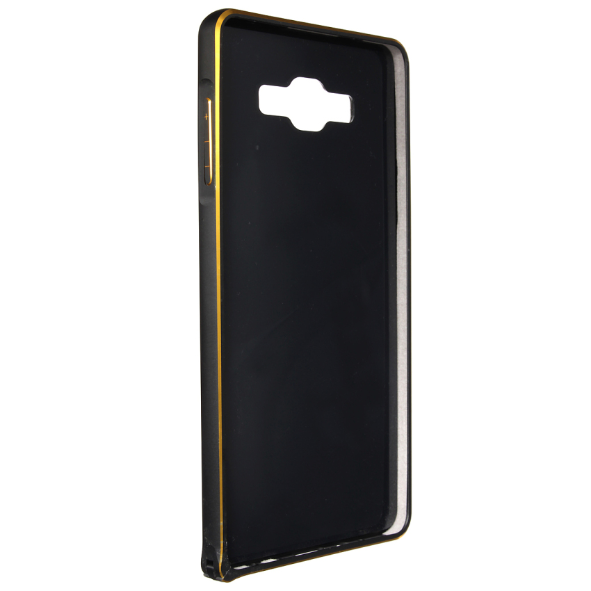 Luxury Metal Alu Frame PU Leather Durable Back Case for Samsung Galaxy A3/A5/A7 (Black) (Intl)