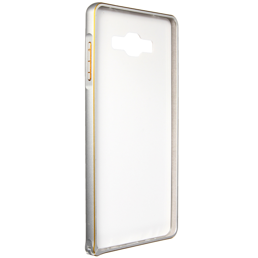 Luxury Metal Alu Frame PU Leather Durable Back Case for Samsung Galaxy A3/A5/A7 (White) (Intl)