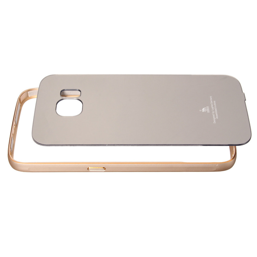 Luxury Metal Frame Mirror Hard Back Case for Samsung Galaxy S6 G9200 (Golden) (Intl)