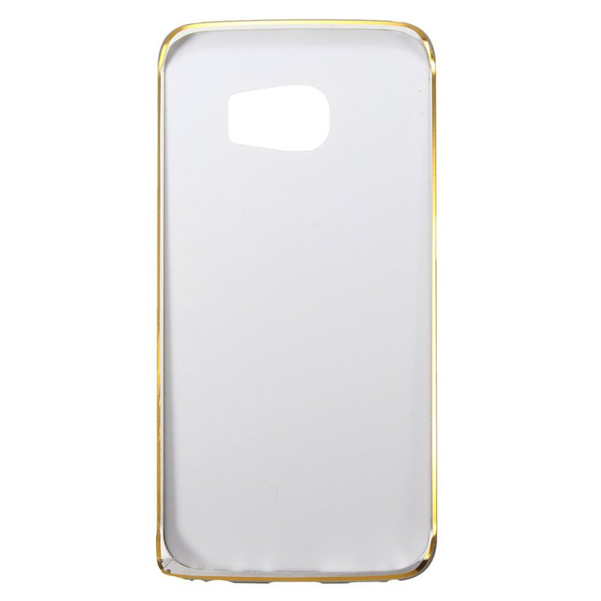 Luxury PU Leather + Aluminum Metal Bumper Frame Back Case for Samsung Galaxy S6 Edge (White) (Intl)