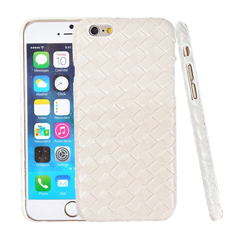 Luxury PU Leather Retro Elegant Woven Pattern Skin Case Phone Bag Pouch for iPhone 6/6s white (Intl)
