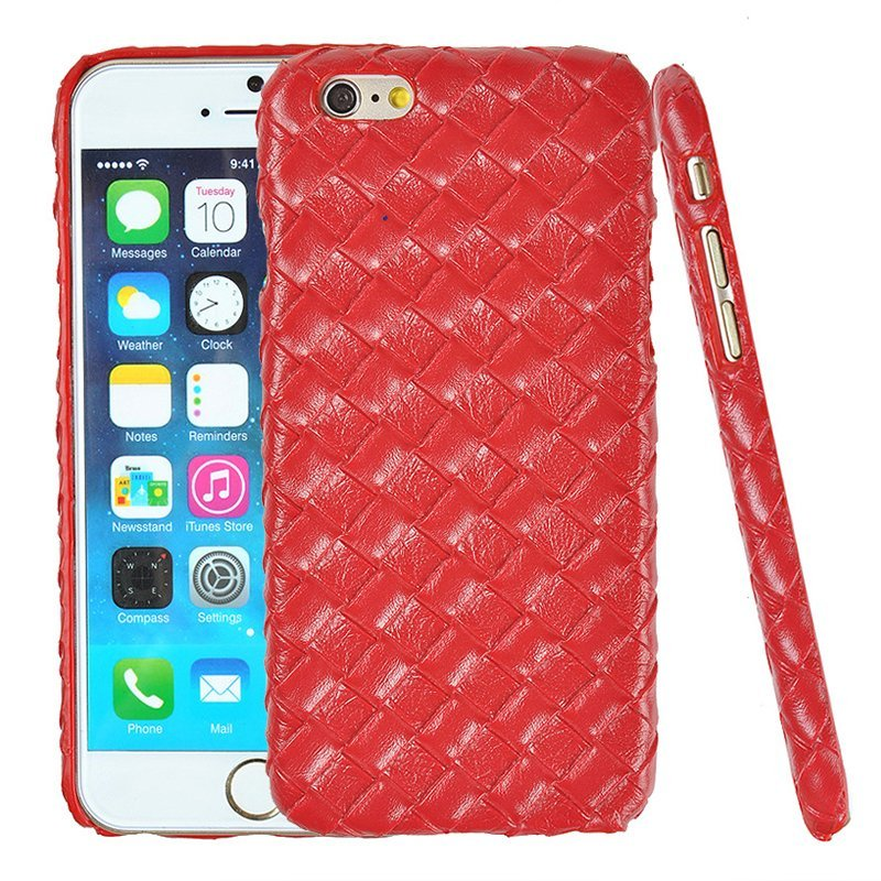 Luxury PU Leather Retro Elegant Woven Pattern Skin Case Phone Bag Pouch for iPhone 6 plus/6s plus red (Intl)
