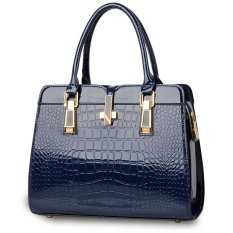 Luxury Women Crocodile PU Leather Shoulder Bag Alligator Pattern Tote Handbag Blue