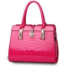 Luxury Women Crocodile PU Leather Shoulder Bag Alligator Pattern Tote Handbag Rose