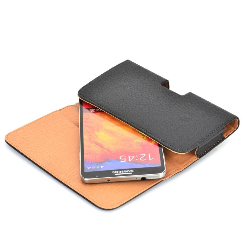 Lychee Grain Style Protective PU Leather Cover with Belt Clip for Samsung Galaxy Note 3 (Black) (Intl)