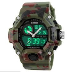 Man Sports Watches Men Skmei S Shock Military Army Reloj Hombre LED Wristwatches (Camouflage Green) - Intl