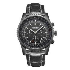 MEGIR Luxury Chronograph Really Three Luminous Hands with Calendar Stainless Steel Men's Watch-Black Leather Black Black (Intl)