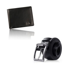Men Bifold Business Leather Wallet And Leather Single Prong Metal Buckle Business Belt Black